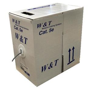 КАБЕЛЬ W&T PVC CAT 5E UTP 4*2*0,51 СЕРЫЙ, КОРОБКА 305 М