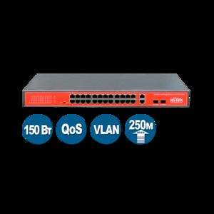 Wi-Tek WI-PS526GV (Неуправляемый коммутатор 24 PoE порта 100Base-TX +  2 Combo 1000Base-T/SFP)